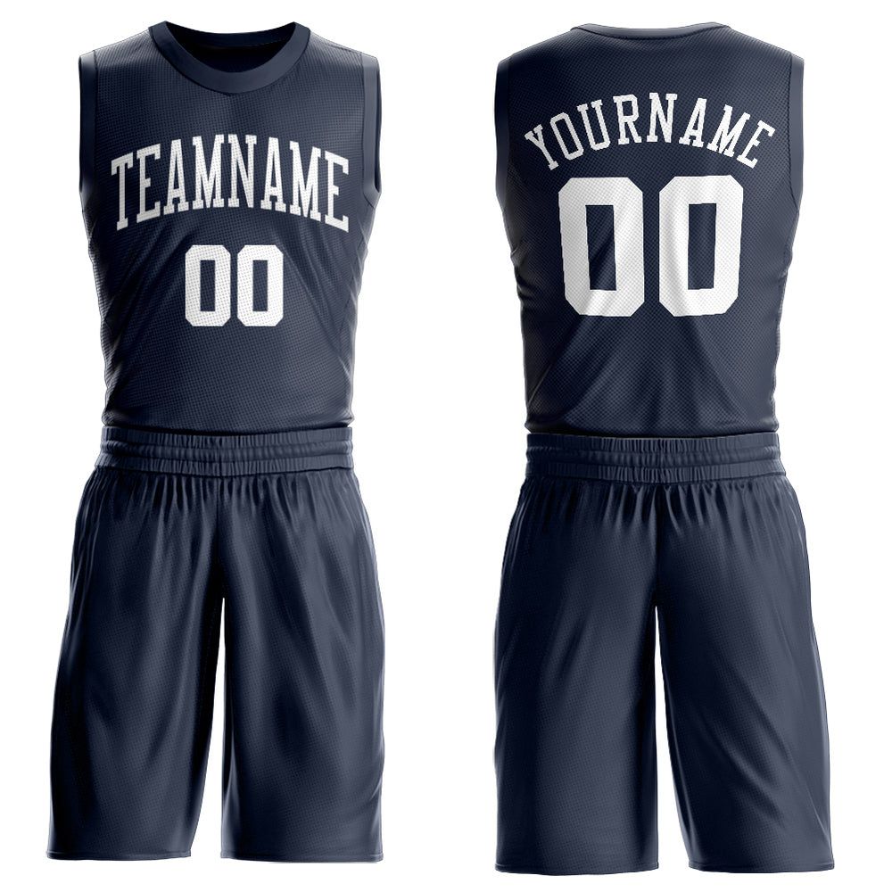 Custom Navy White Round Neck Suit Basketball Jersey