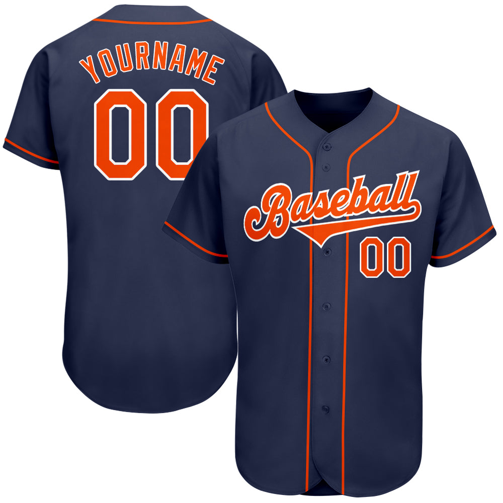 Custom Navy Orange-White Authentic Baseball Jersey