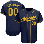 Custom Navy Gold Authentic Baseball Jersey