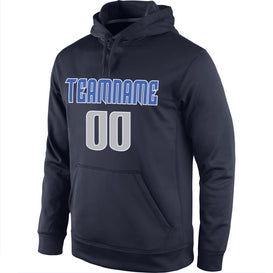 Custom Stitched Navy Gray-Blue Sports Pullover Sweatshirt Hoodie