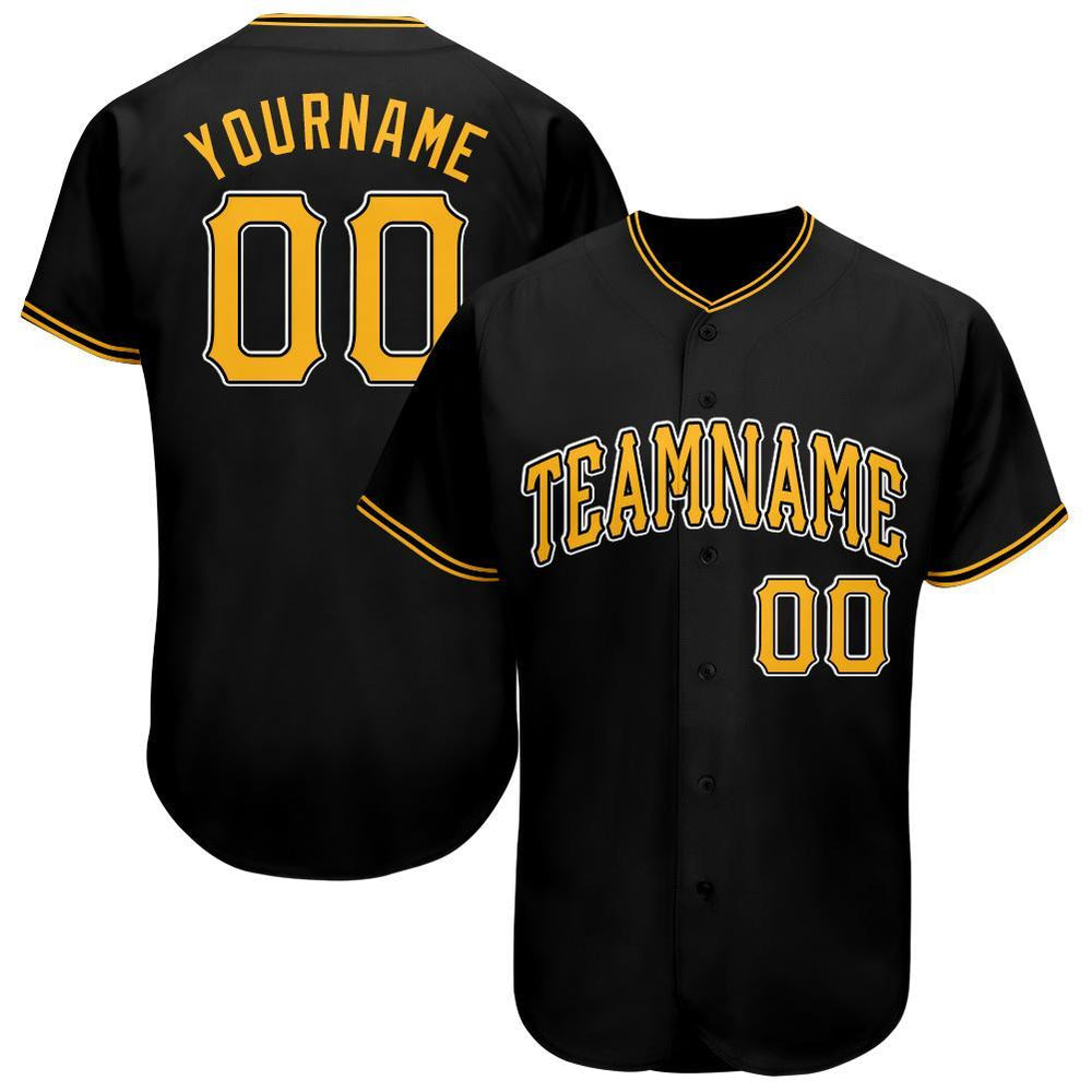 Custom Black Gold-White Baseball Jersey