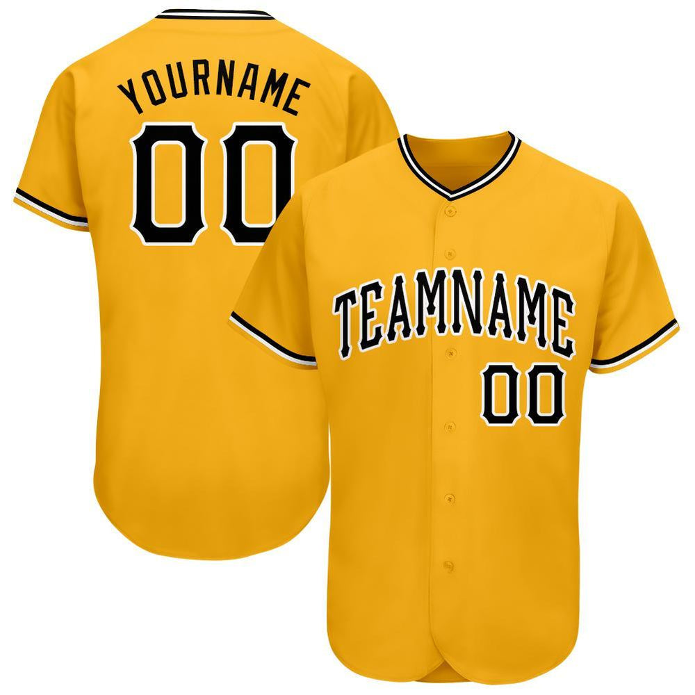 Custom Gold Black-White Baseball Jersey