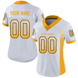 Custom White Gold-Black Mesh Drift Fashion Football Jersey