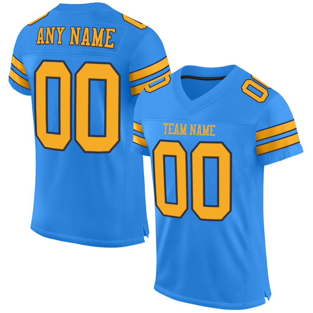 Custom Powder Blue Gold-Navy Mesh Authentic Football Jersey