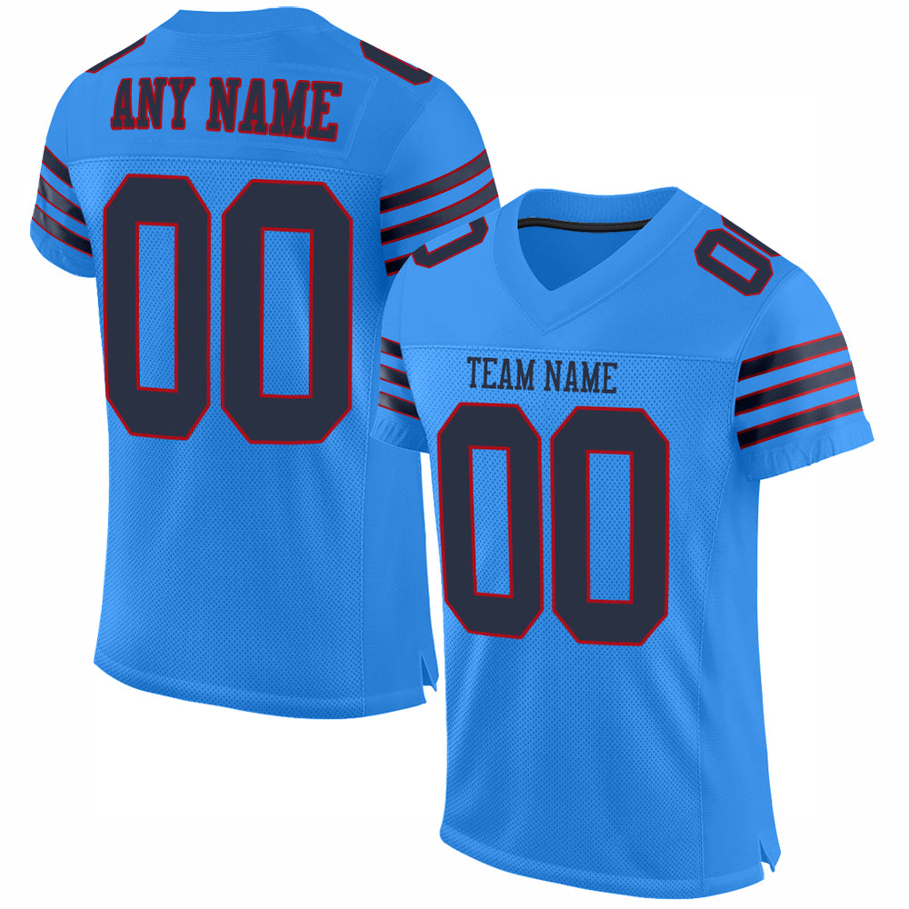 Custom Powder Blue Navy-Red Mesh Authentic Football Jersey