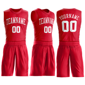 Custom Red White Round Neck Suit Basketball Jersey