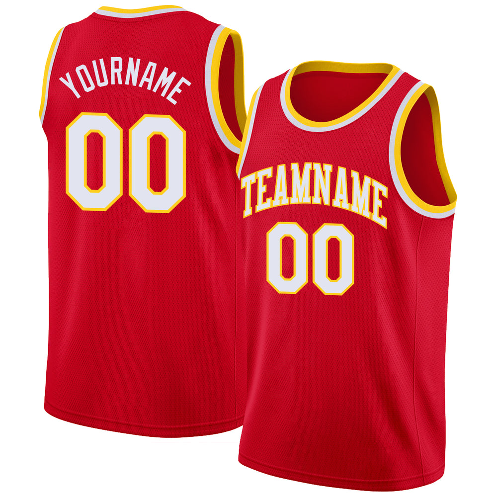 Custom Red White-Gold Round Neck Rib-Knit Basketball Jersey