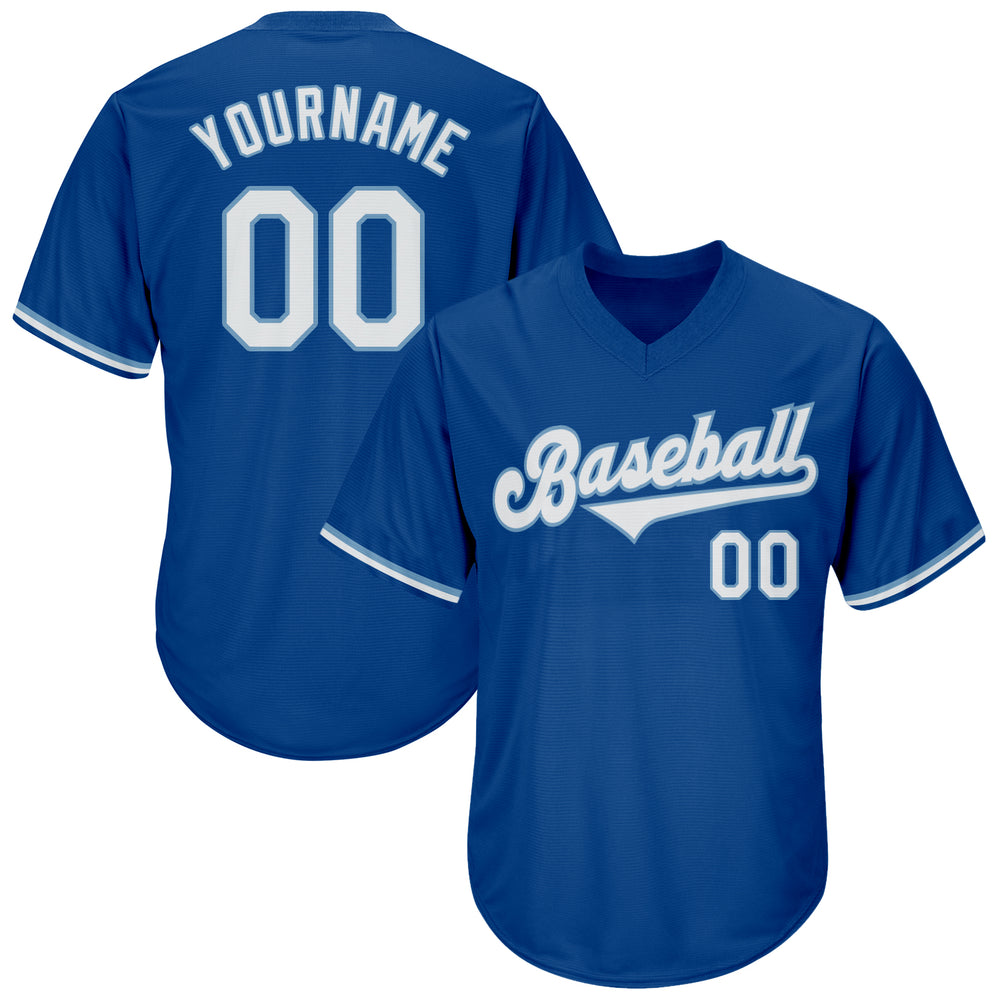 Custom Royal White-Light Blue Authentic Throwback Rib-Knit Baseball Jersey Shirt