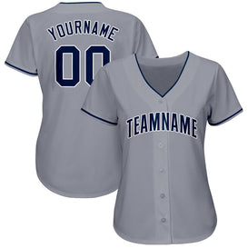 Custom Gray Navy-White Baseball Jersey