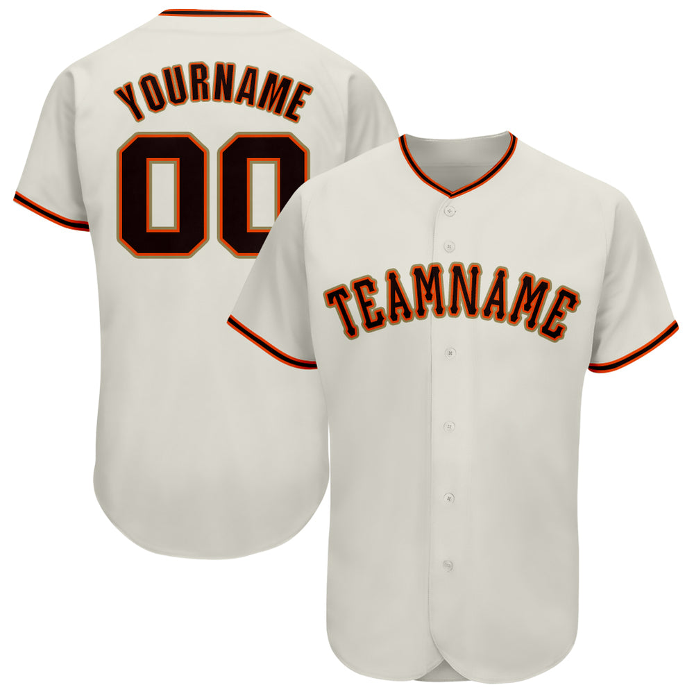 Custom Cream Black-Orange Baseball Jersey