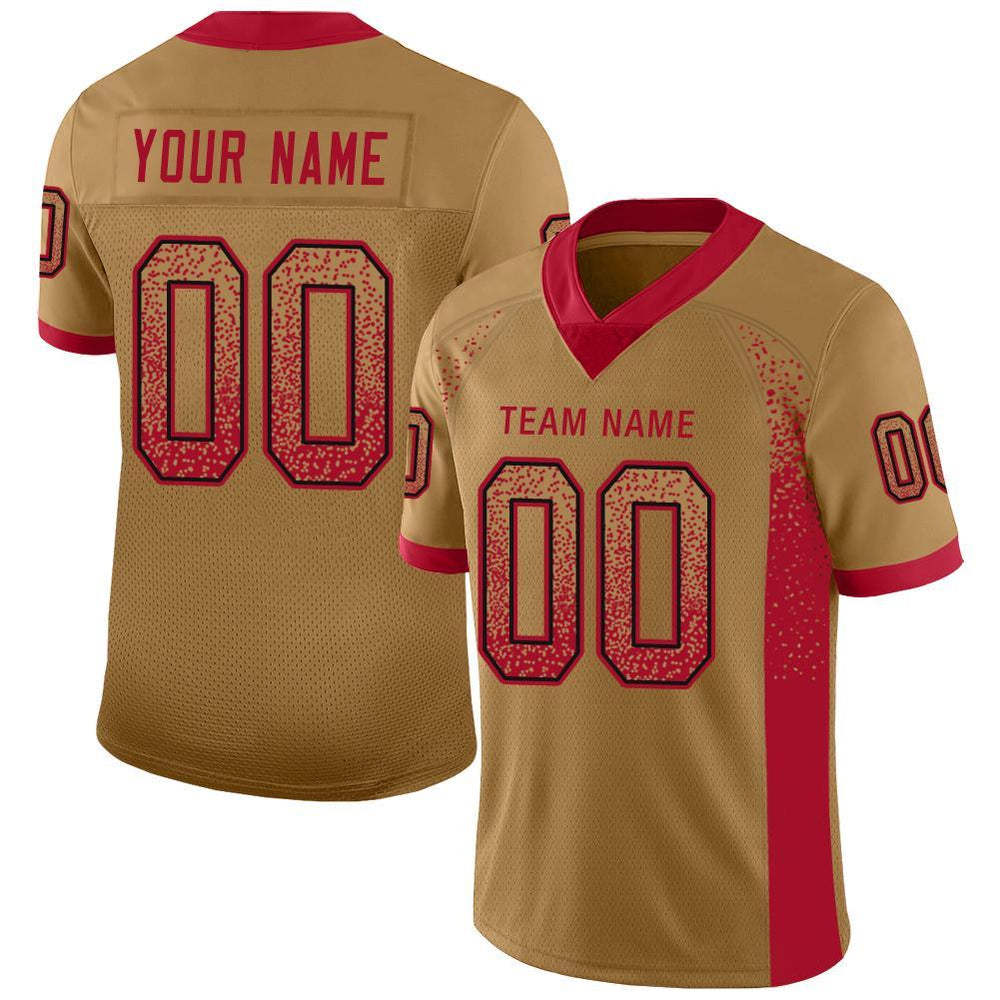 Custom San Francisco Gold Mesh Drift Fashion Football Jersey