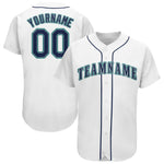 Custom White Navy-Aqua Baseball Jersey