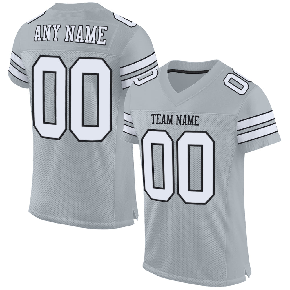 Custom Silver White-Black Mesh Authentic Football Jersey
