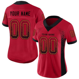 Custom Red Black-Orange Mesh Drift Fashion Football Jersey