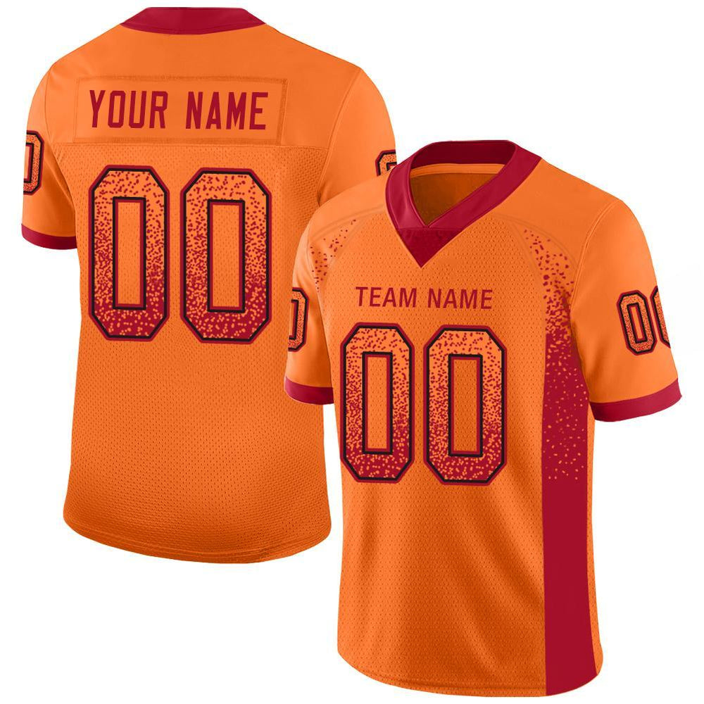 Custom Tampa Bay Orange Mesh Drift Fashion Football Jersey