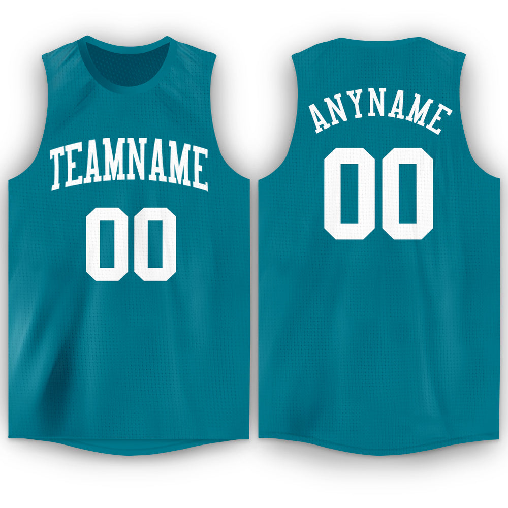 Custom Teal White Round Neck Basketball Jersey