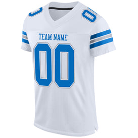 Custom White Panther Blue-Light Gray Mesh Authentic Football Jersey