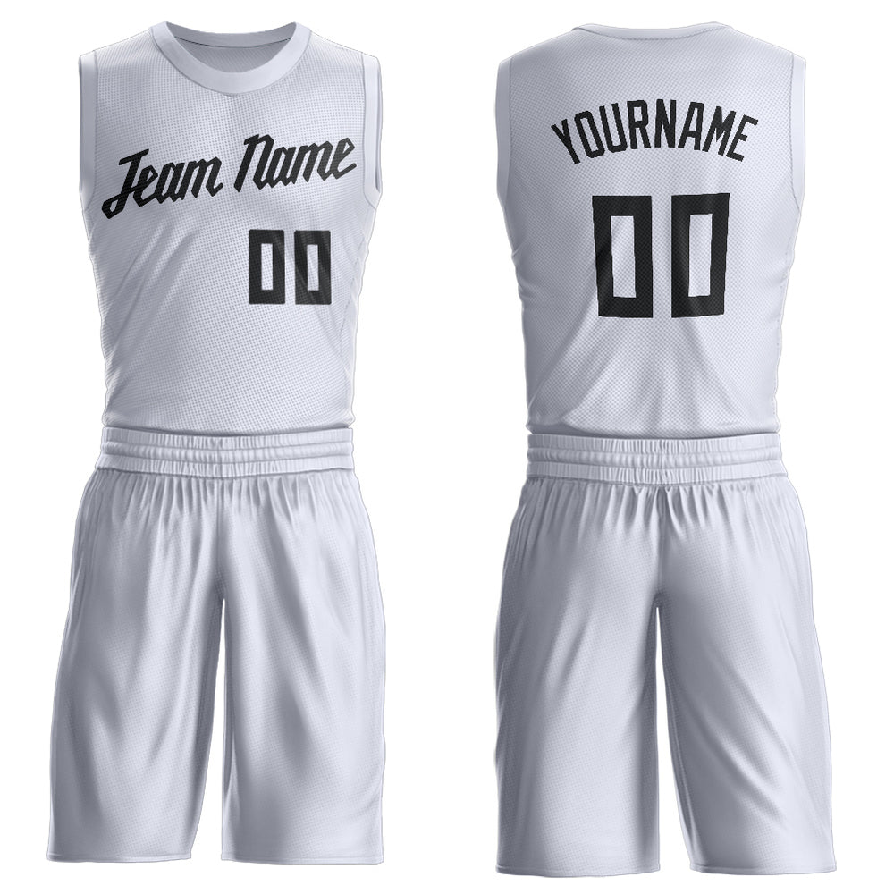 Custom White Black Round Neck Suit Basketball Jersey