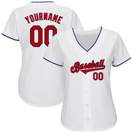 Custom White Red-Navy Authentic Baseball Jersey