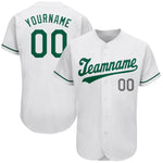 Custom White Kelly Green-Gray Authentic St. Patrick's Day Baseball Jersey