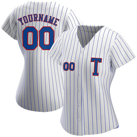 Custom White Royal Strip Royal-Red Authentic Baseball Jersey