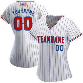 Custom White Royal Strip Red-Royal Authentic American Flag Fashion Baseball Jersey
