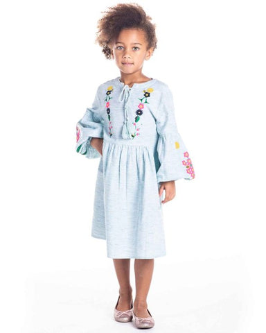 Pretty Embroidered Denim Dress for Girls