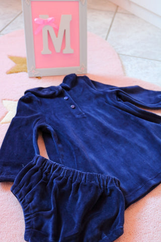 Soft blue velvet dress for kids