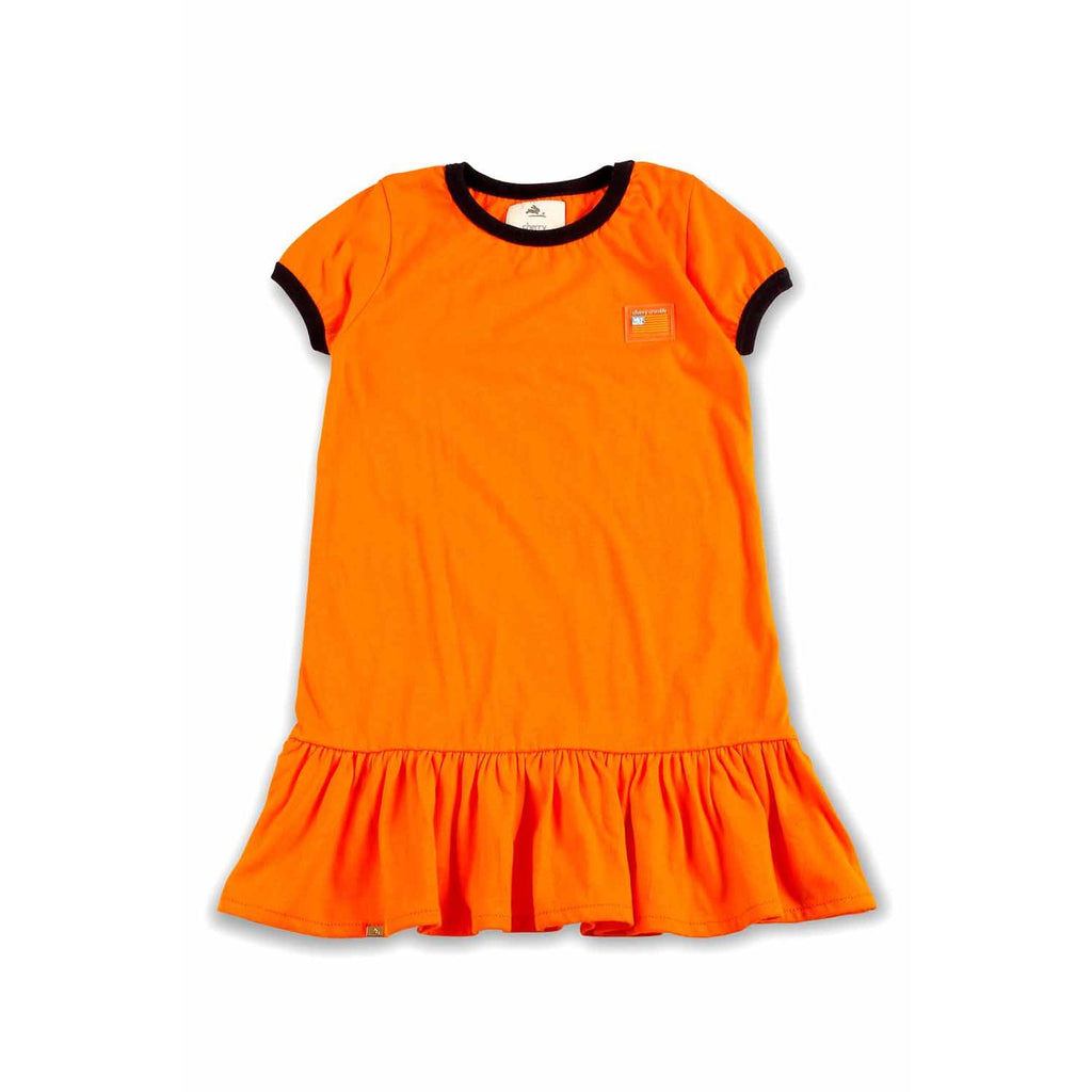Soft Cotton Jersey Orange Dress for Girls
