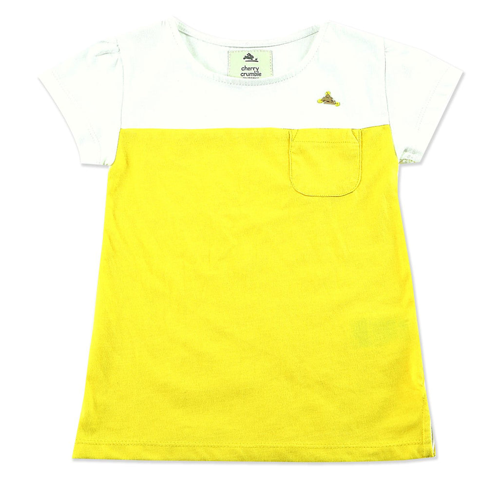 Soft Cotton Yellow & White T Shirt for Girls