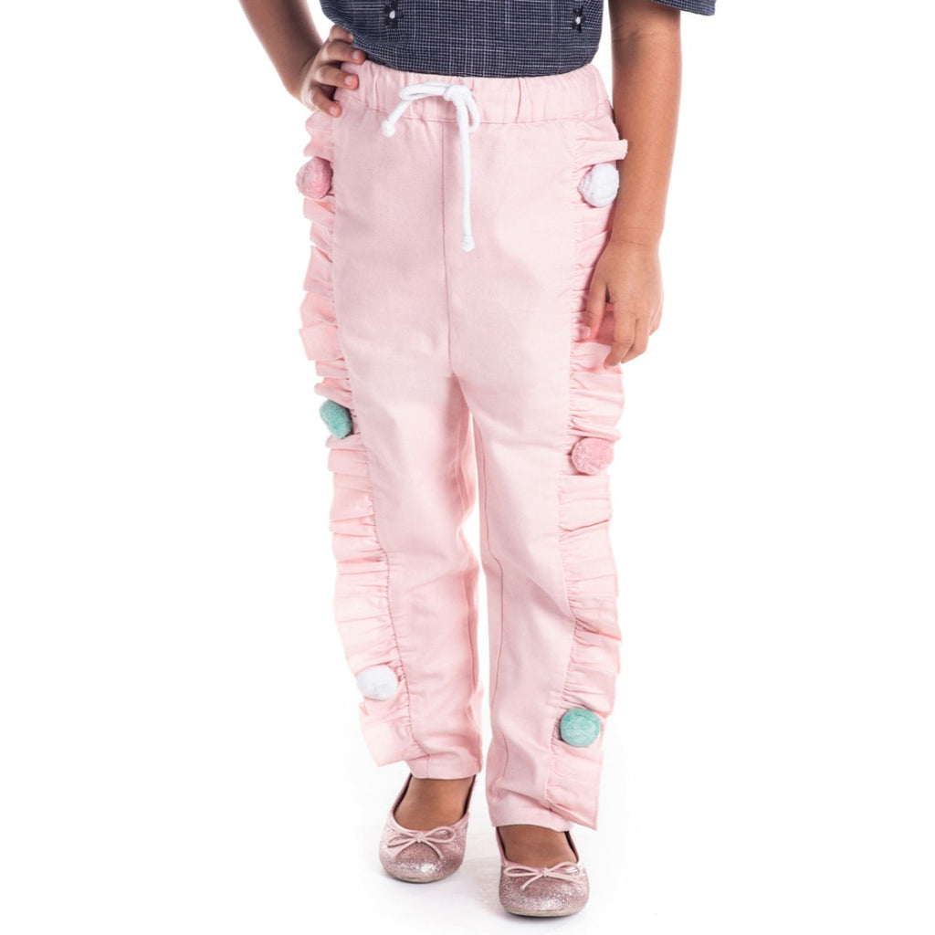 Pom Pom Braided Pants for Girls