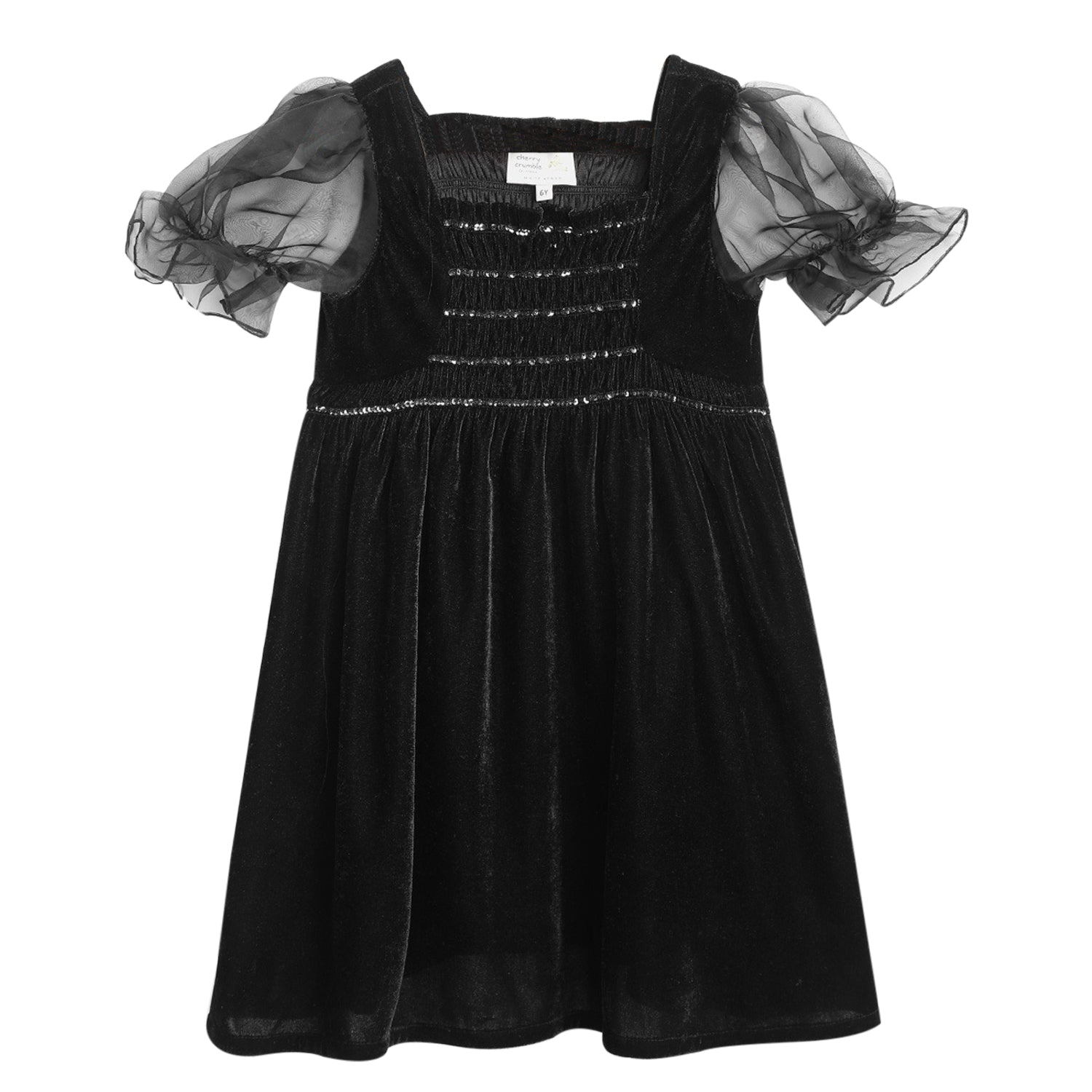 Cherry-Crumble-Kids-Short-Sleeve-Puff-Sleeves-Square-Neck-Solid-Fit-&-Flare-Dress