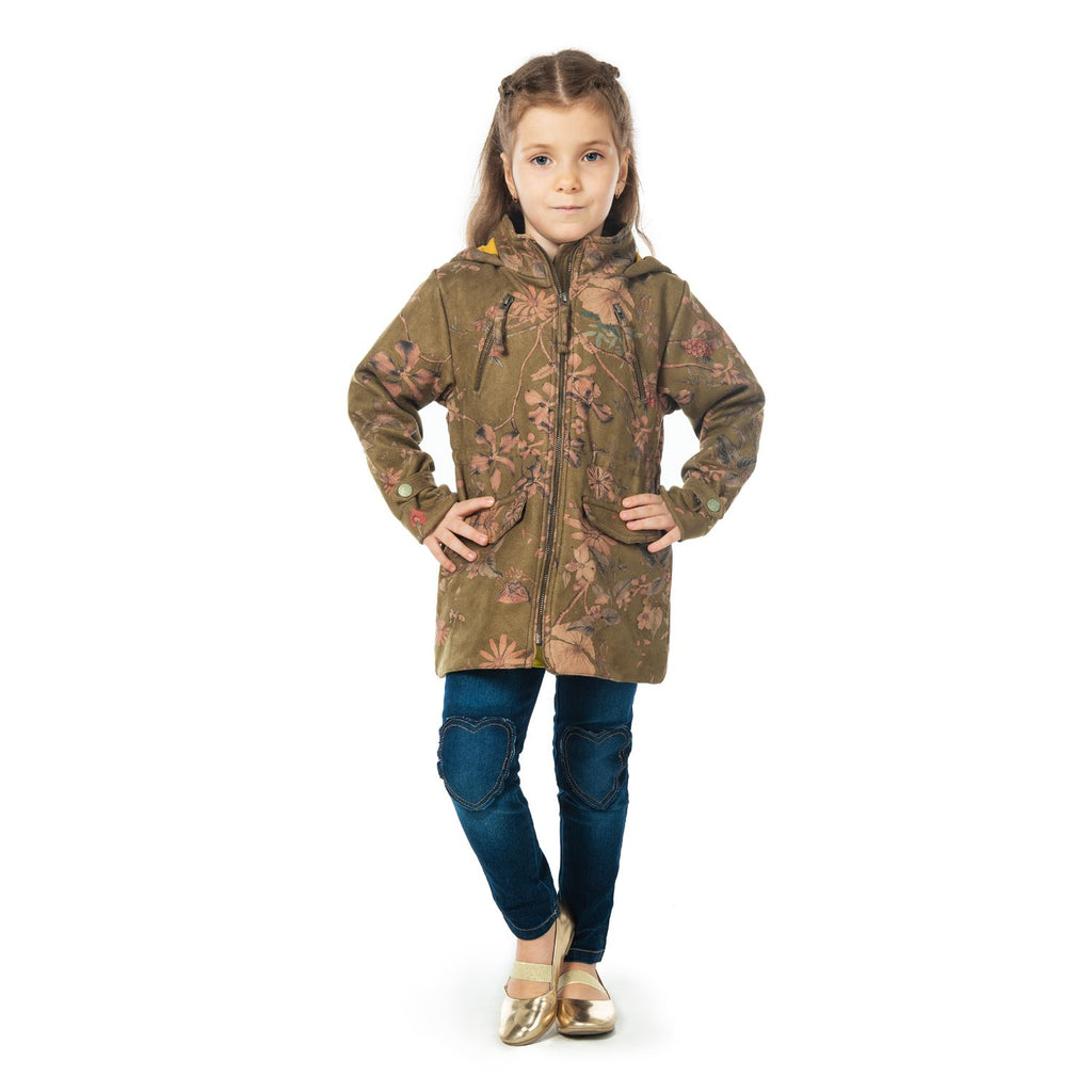 Floral Suede Coat for Girls