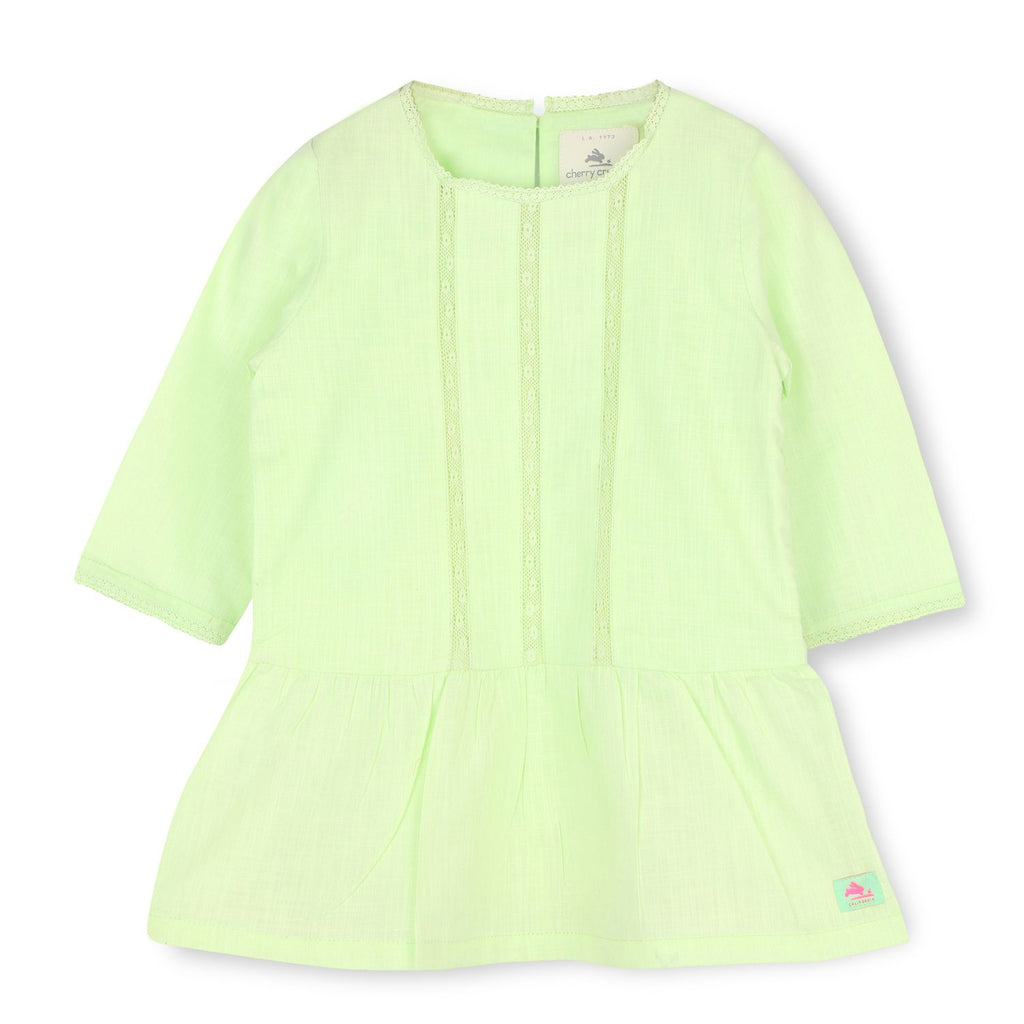 Soft Cotton Light Green Dress for Girls