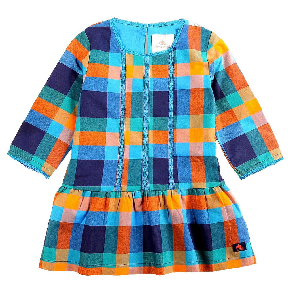 Fine Cotton Yarn Dyed Checkered Dress for Girls