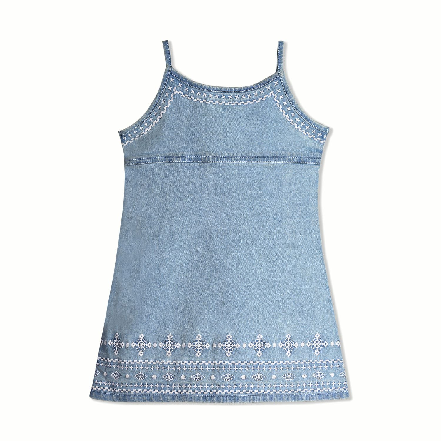 Embroidered Strap Denim Dress for Girls