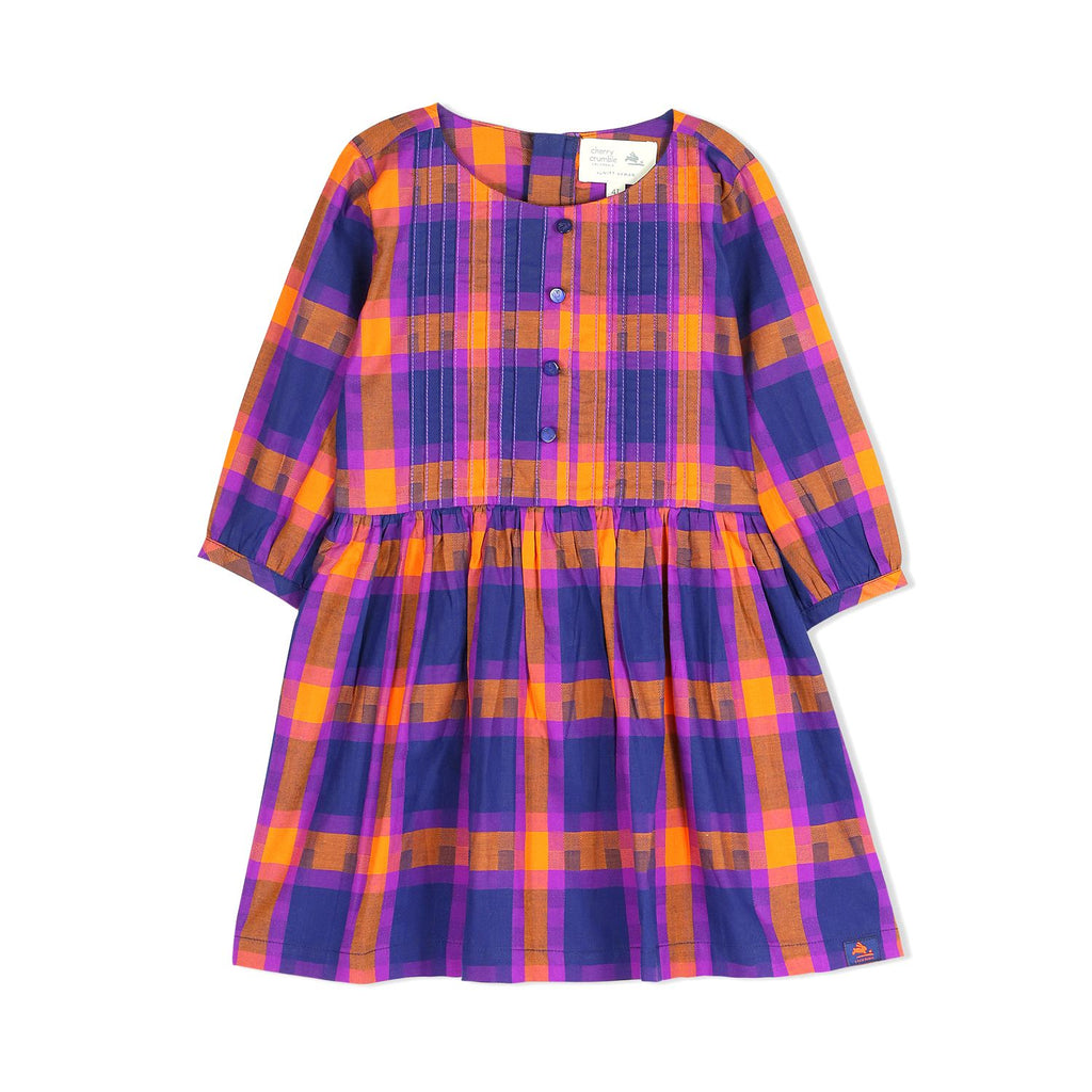 Soft Premium Cotton Checkered Shirt Dress for Girls