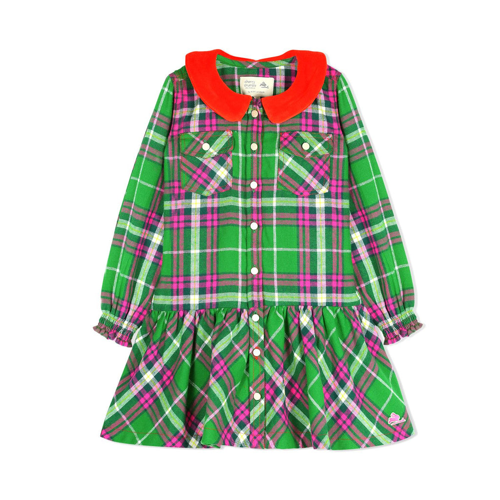 Soft Flannel Lurex With Velour Peter Pan Collar Dress for Girls