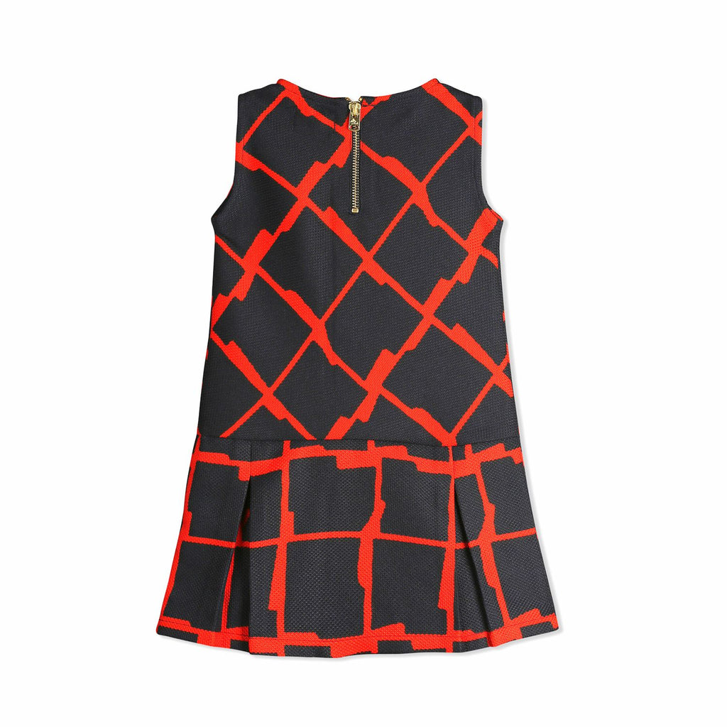 Patterned Bow Dress for Girls