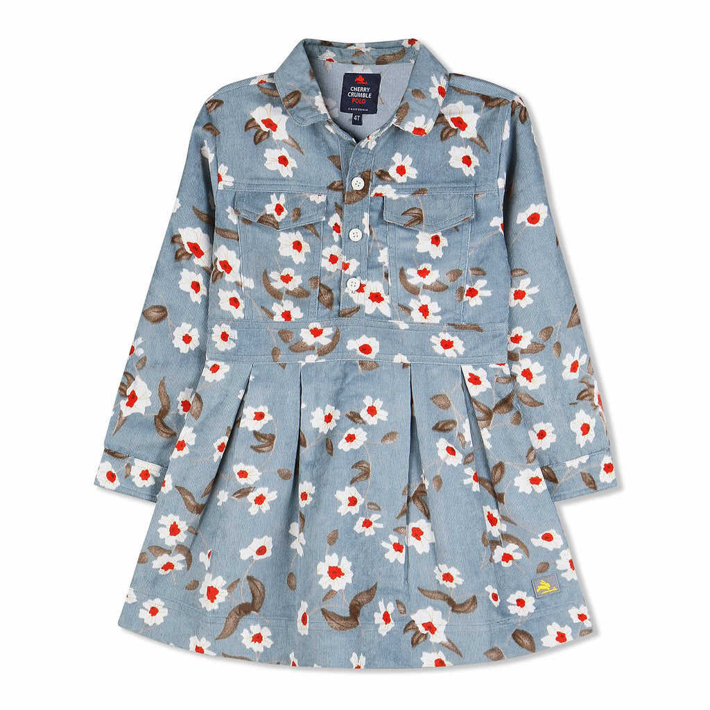 Floral Corduroy Dress for Girls