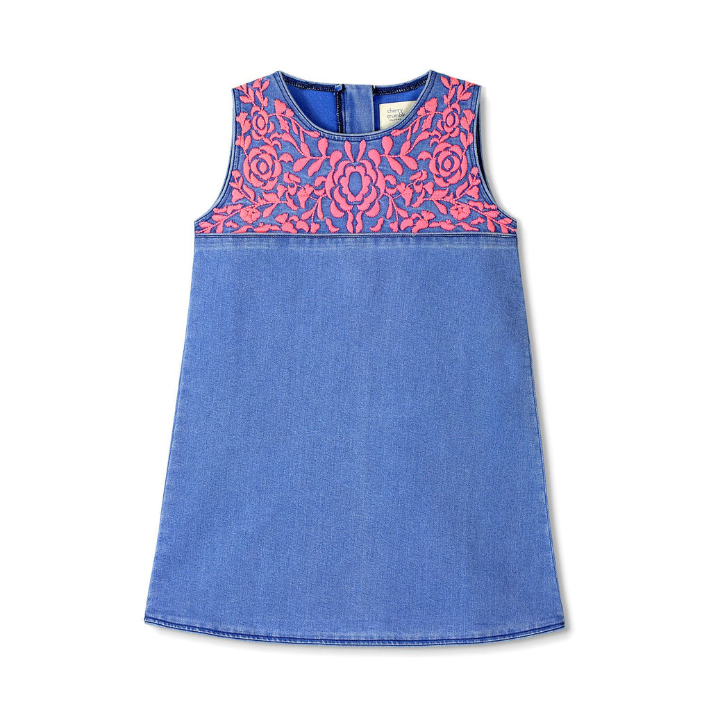 Embroidered Cotton Denim Dress for Girls