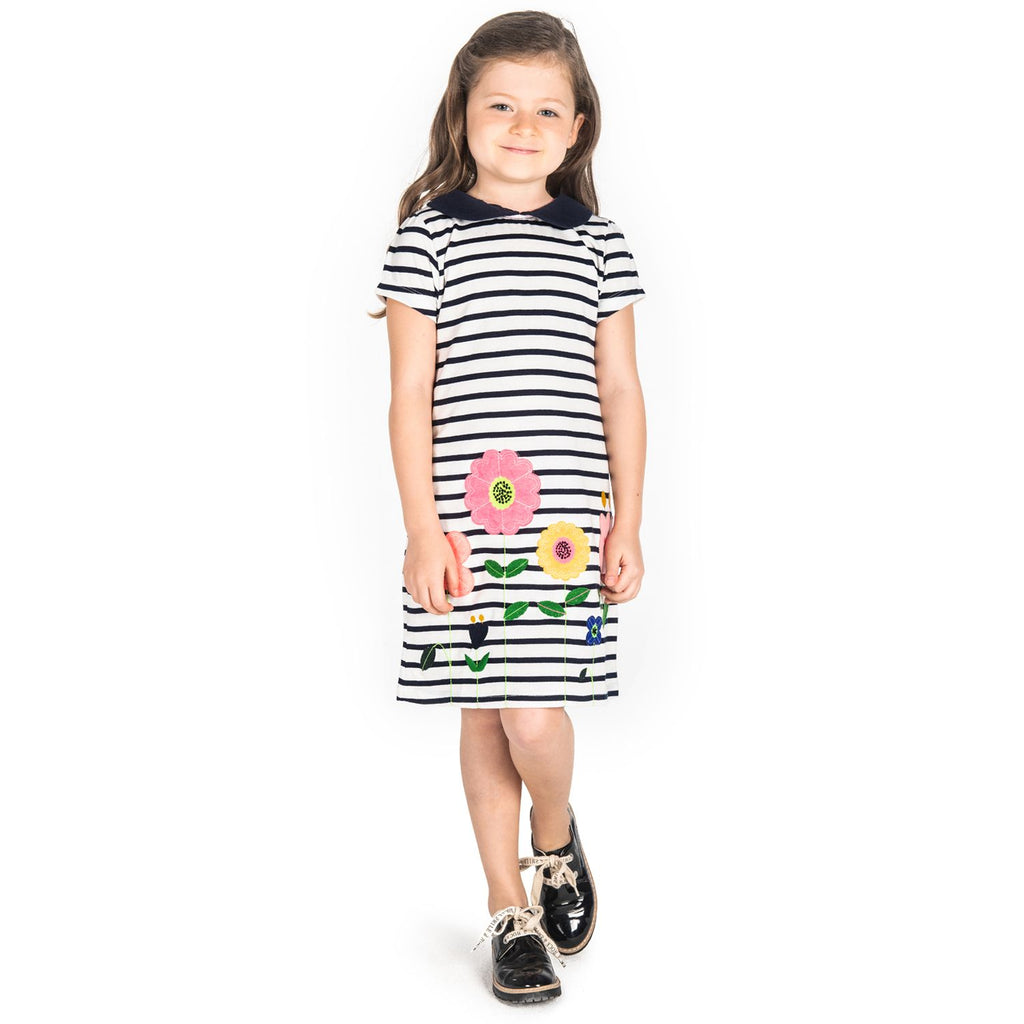 Little Flower Applique Dress for Girls