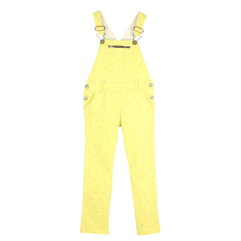 Soft Cotton Twill Yellow Print Dungaree for Girls