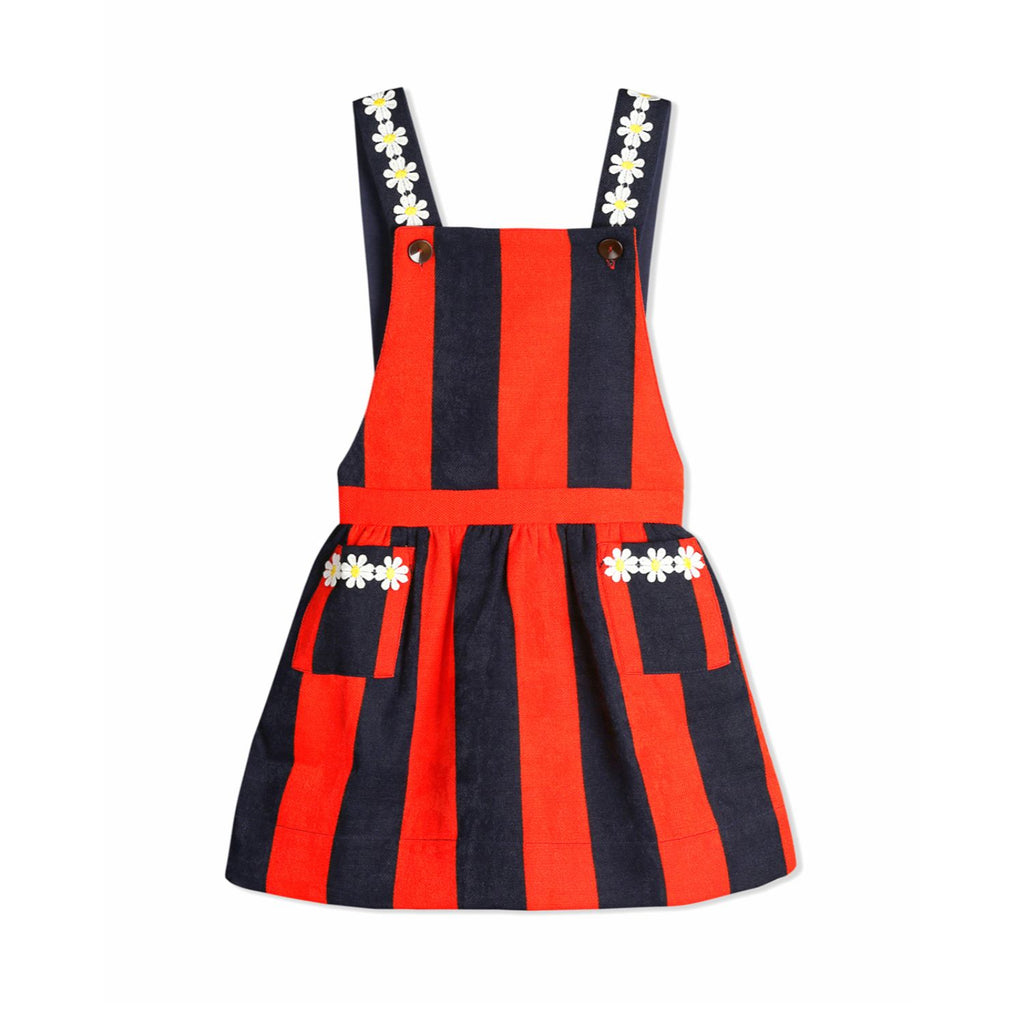 Floral Stripe Dungaree for Girls