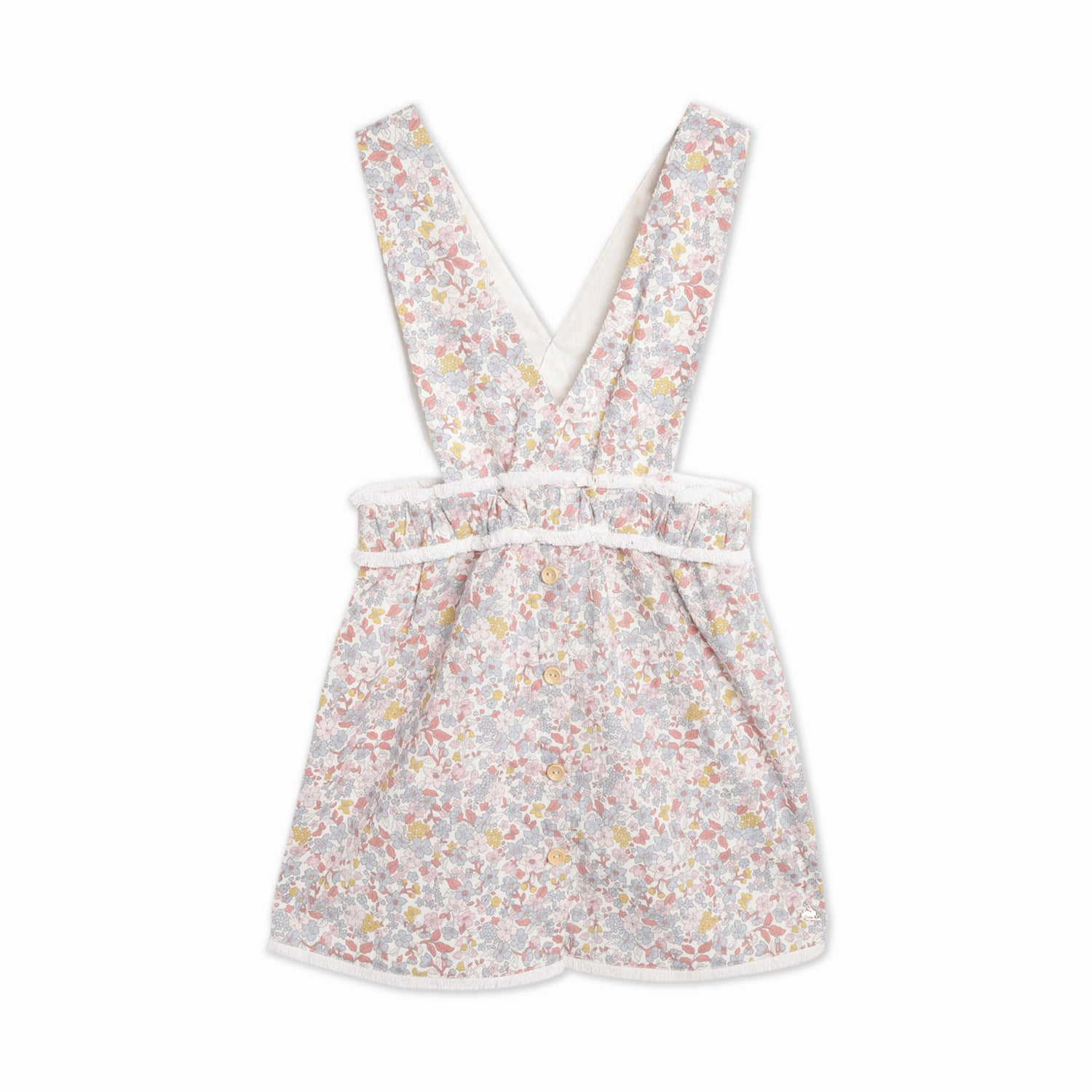 Cherry-Crumble-Kids-Girls-Sleevless--Square-Neck-Full-Length-Floral-Dress-Dungaree