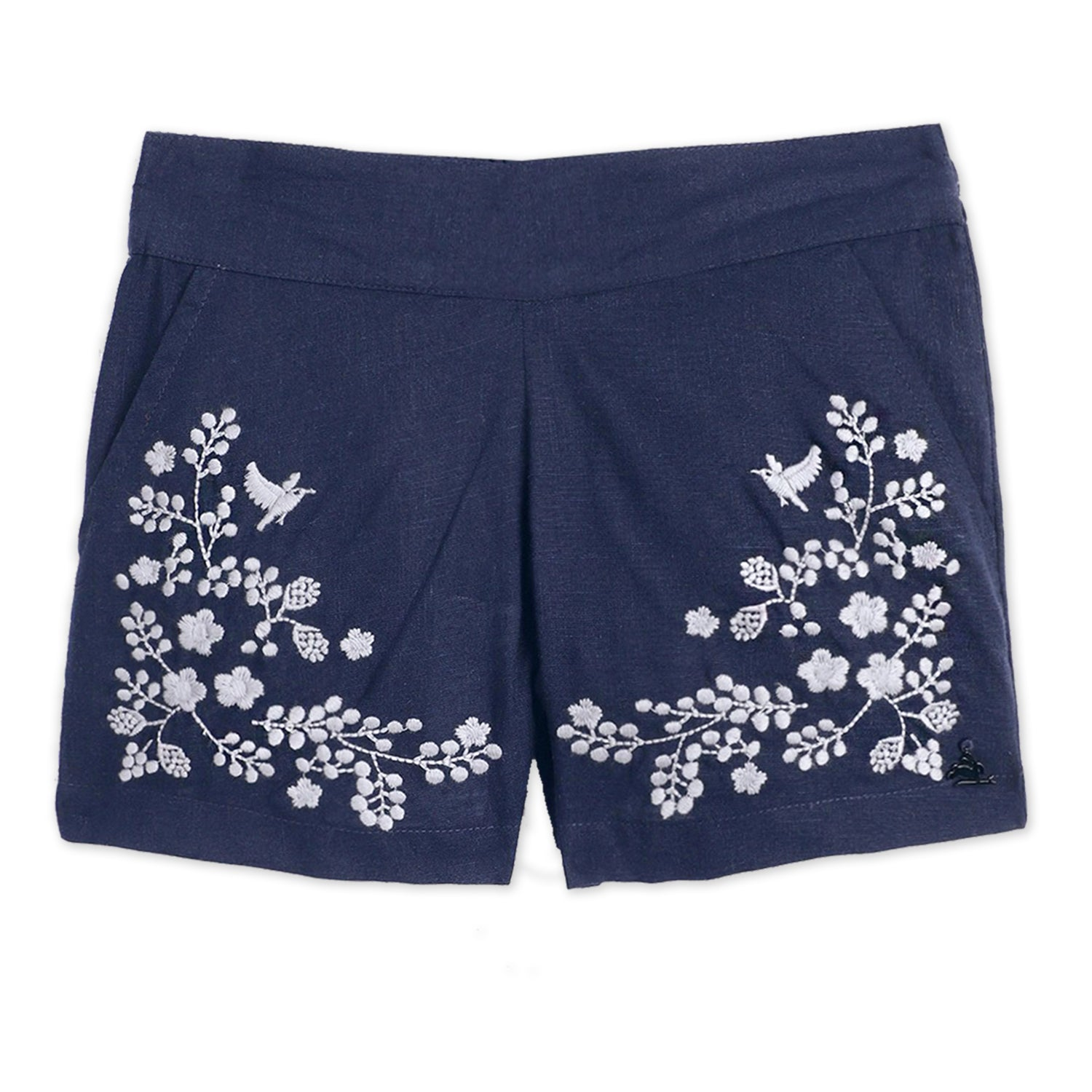 kids-applique high-waist short-ws-gshort-5447nblu