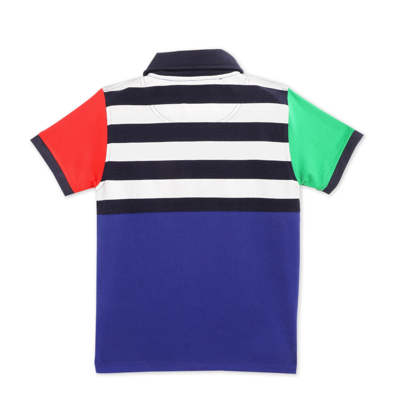 kids-clolorblock striped polo tshirt-ws-hpolo-6146ml
