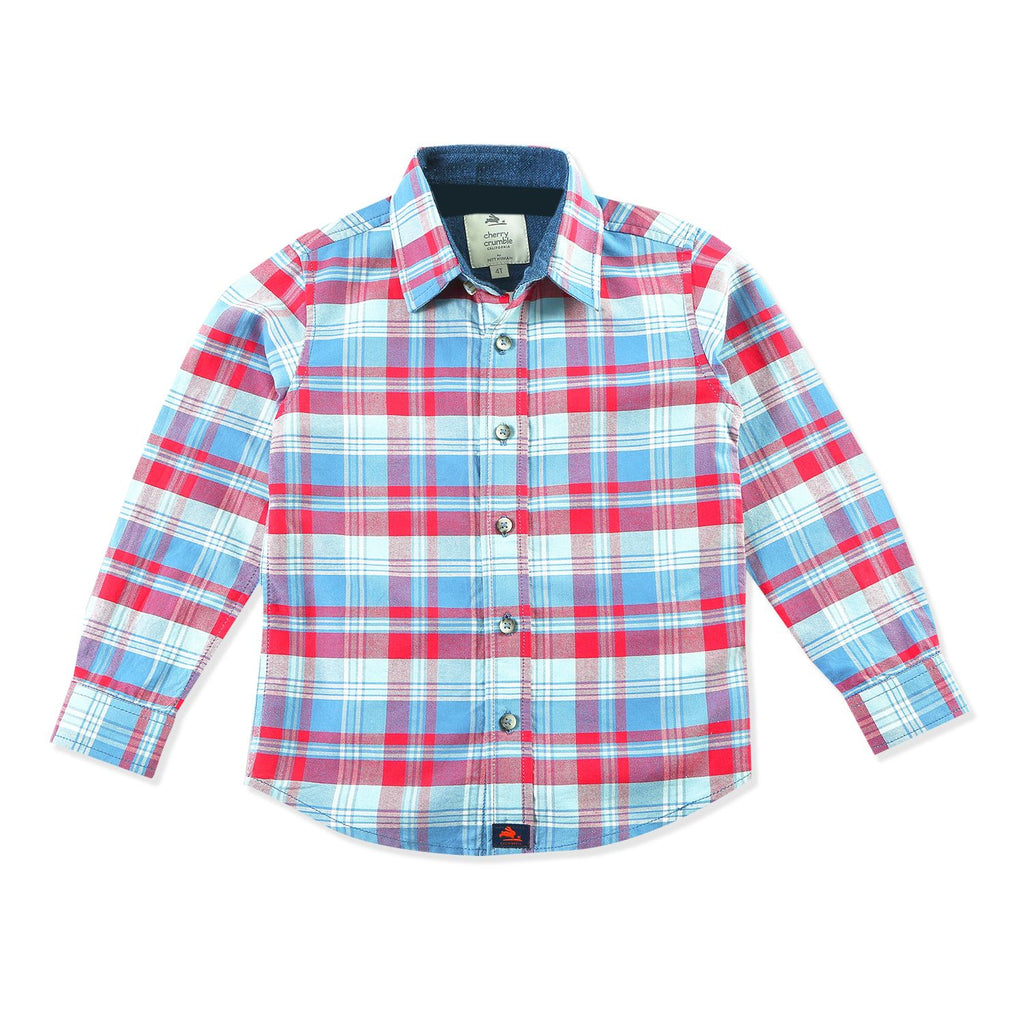 Cotton Bio Washed Check Shirt for Boys