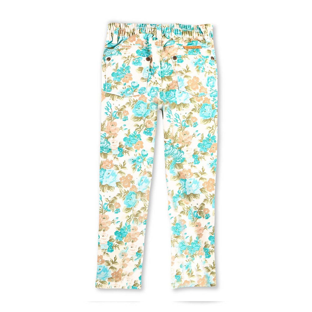 Cotton Twill Floral Print Ecru Trousers for Girls