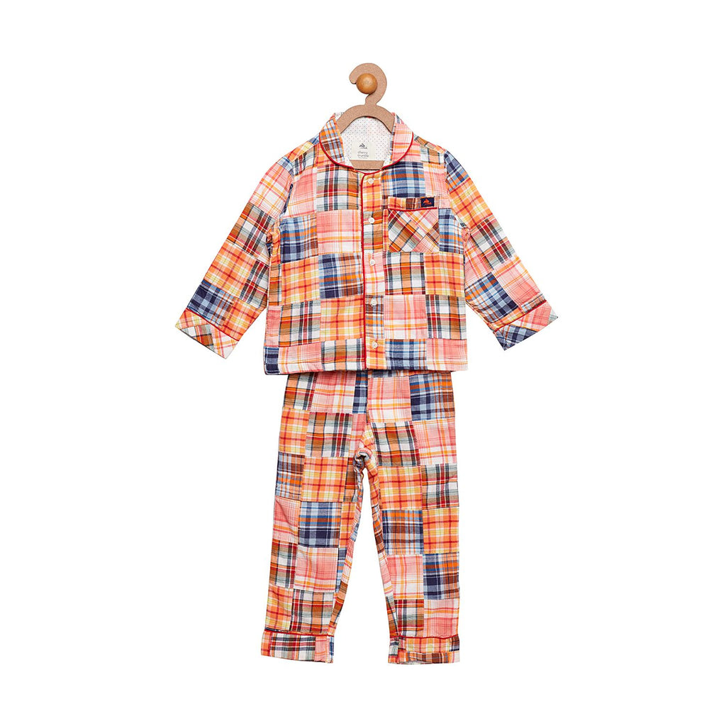 Cotton Patchwork Shirt Top N Pyjama Set for Boys